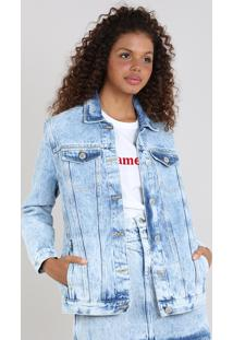 Jaqueta Jeans Feminina Mindset Com Bolsos Azul Claro