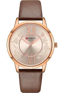 Relógio Curren Analógico C9049L Rosê E Marrom