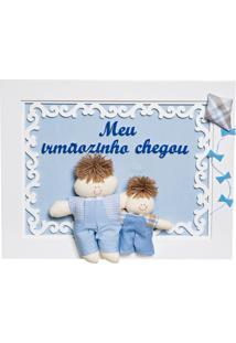 Quadro Arabesco Bonequinho Com Irmãozinho Potinho De Mel Azul