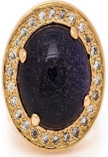 Anel Kumbayá Redondo Semijoia Banho De Ouro 18K Pedra Natural Estrela E Cravação De Zircônias