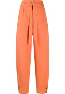 Alberta Ferretti Belted High Waisted Trousers - Laranja