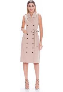 Vestido Kadoche Trench Coat Botões Faixa Feminino - Feminino-Bege