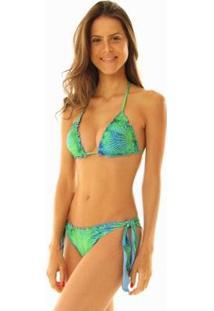Conjunto Biquíni Brazil Del Mar Cortininha Lação Dupla Face - Feminino-Verde+Azul