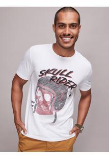 "Camiseta Masculina ""Skull Rider"" Caveira Manga Curta Gola Careca Off White"