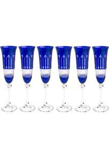 Jogo De Taças Para Champagne 6 Peças 190 Ml Alexandra - Bohemia - Azul