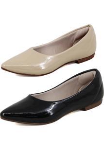 Kit Sapatilha Magi Shoes Confortável Verniz Preto/Nude