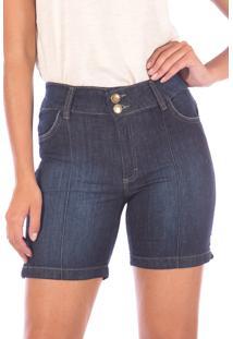 Bermuda Sisa Jeans Meia Coxa Com Elastico