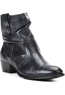 Bota Slouch Shoestock Couro Cano Curto Feminina - Feminino-Marinho