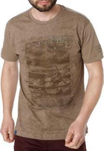 Camiseta Dixie Manga Curta Masculina - Masculino-Bege