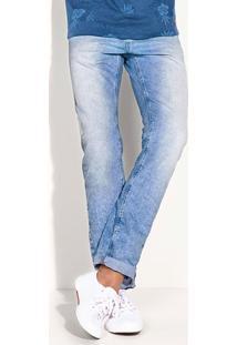 Calça Jeans Masculina Skinny Com Lavação Azul Clara