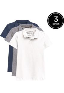 Kit De 3 Camisas Polo Femininas De Várias Cores Branco - Kanui