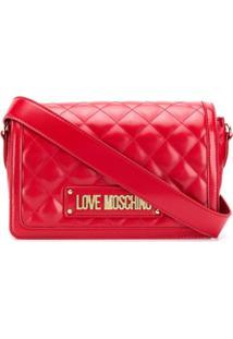 Love Moschino Bolsa Matelassê Com Logo - Vermelho