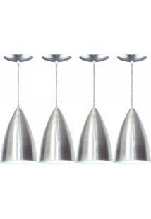 Kit 4 Luminárias Pendente Bala Em Alumínio Esc Estillo E Luz