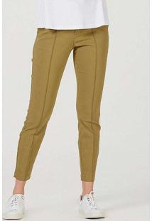 Calça Feminina Skinny Com Detalhe De Botão Verde