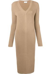 Ami Paris Vestido Longo Com Decote Em V - Neutro