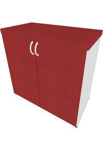 Armário De Escritório Natus 2 Pt Branco E Vermelho