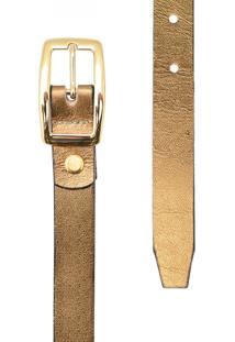 Cinto Corazzi Leather Deluxe Metalizado Dourado