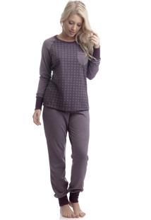 Pijama Divina Noite Dani Estampado Roxo