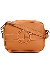 Bolsa Couro Jorge Bischoff Mini Bag Transversal Feminina - Feminino-Caramelo