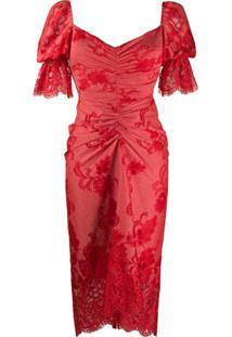 Three Floor Vestido Clementina Drapeado Com Renda - Vermelho