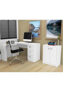 Conjunto Escritório Tecno Mobili Escrivaninha Me4101 + Balcão Me4103 – Branco