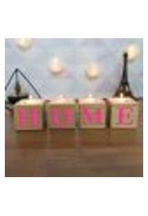 Cubo Decorativo Com Velas E Letras Em Acrílico Home Único