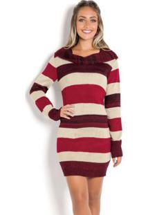 Vestido De Lã Manga Longa Listrado Vermelho