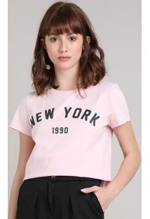 "Blusa Feminina Bbb ""New York"" Manga Curta Decote Redondo Rosa Claro"