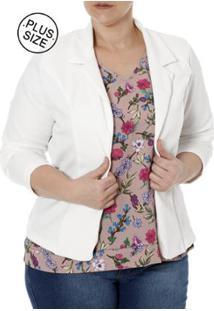Blazer Plus Size Autentique Feminino - Feminino-Branco