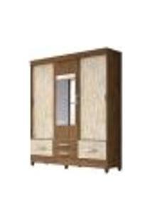 Guarda Roupa Casal 3 Portas De Correr Com Espelho Vegas Castanho Avela Wood Moval