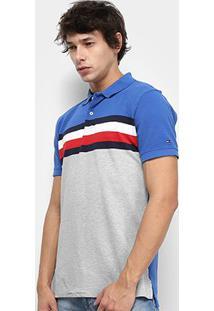 Camisa Polo Tommy Hilfiger Stripe Masculina - Masculino-Azul+Cinza
