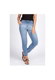 Calça Jogger Jeans Bloom Moletom Elástico Barra Azul Claro