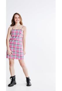 Vestido Tubo Xadrez Rosa