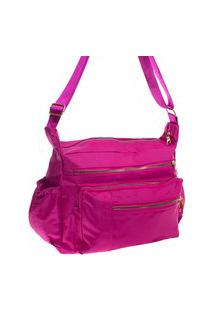 Bolsa Feminina Transversal Esportiva Ou Casual Nylon Grande Impermeável Pink