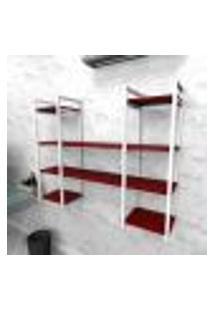 Estante Industrial Escritório Aço Cor Branco 120X30X98Cm Cxlxa Cor Mdf Vermelho Modelo Ind50Vres