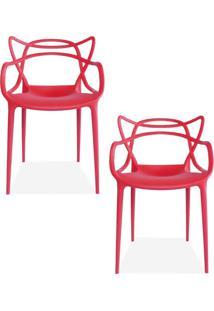 Kit 02 Cadeiras Decorativas Lyam Decor Amsterdam Vermelho.
