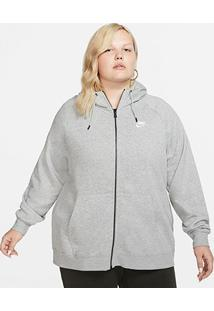 Blusão Nike Sportswear Essential Hoody Plus Size Feminino - Feminino-Cinza+Branco
