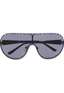 Karl Lagerfeld Óculos De Sol Com Tachas - Preto