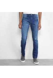 Calça Jeans Skinny Biotipo Elastano Puídos Masculina - Masculino