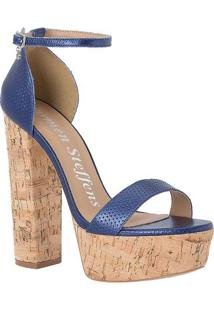 Sandália Meia Pata Em Couro- Azul Marinho- Salto: 10Carmen Steffens
