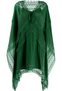 Self-Portrait Vestido Kaftan Com Bordado - Verde