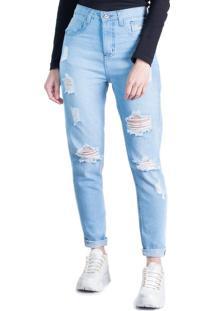 Calça Jeans Feminina Max Denim Mom Azul Claro - 42