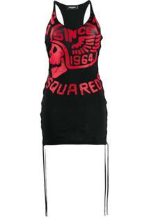 Dsquared2 Vestido Com Tassel E Logo - Preto
