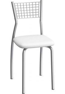 Cadeira De Aço Florença C121 Compoarte Cromado/Branco