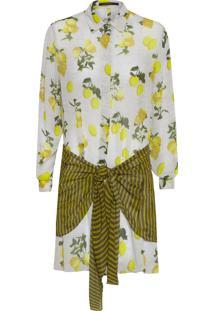 Camisa Feminina Amarração Estampada - Bege E Amarelo