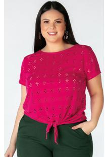 Blusa Plus Size Pink Em Laise
