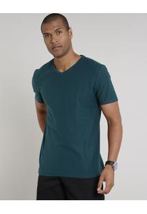 Camiseta Masculina Básica Flamê Manga Curta Gola V Verde