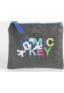 Necessarie Feminina Metalizada Estampa Mickey Disney