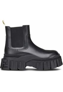 Fendi Ankle Boot De Couro - Preto