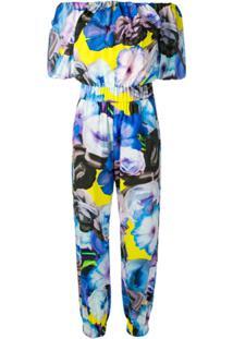 Msgm Macacão Floral - Azul